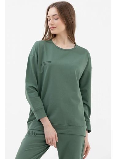 Sementa Sıfır Yaka Oversize Sweat - Yeşil Yeşil